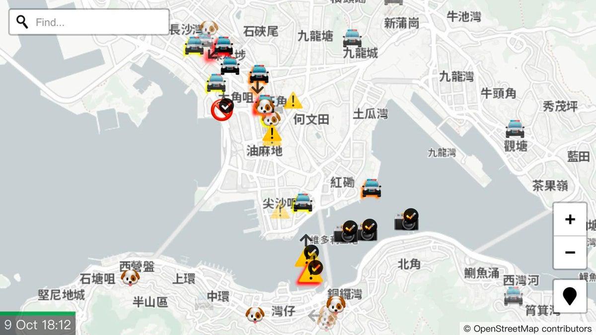 <i>A screenshot of the HKmap.live app. Photo Credit: Vincent Yu/AP/Shutterstock</i>