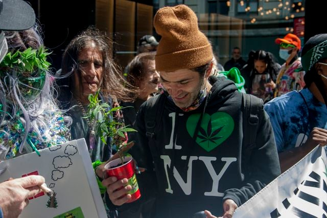 One parade attendee holds a small cannabis plant. (Chloe Aiello/Cheddar)