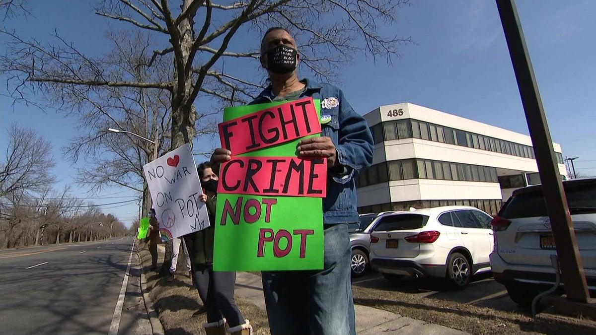 Legalization advocates in Syosset, 3/9/21