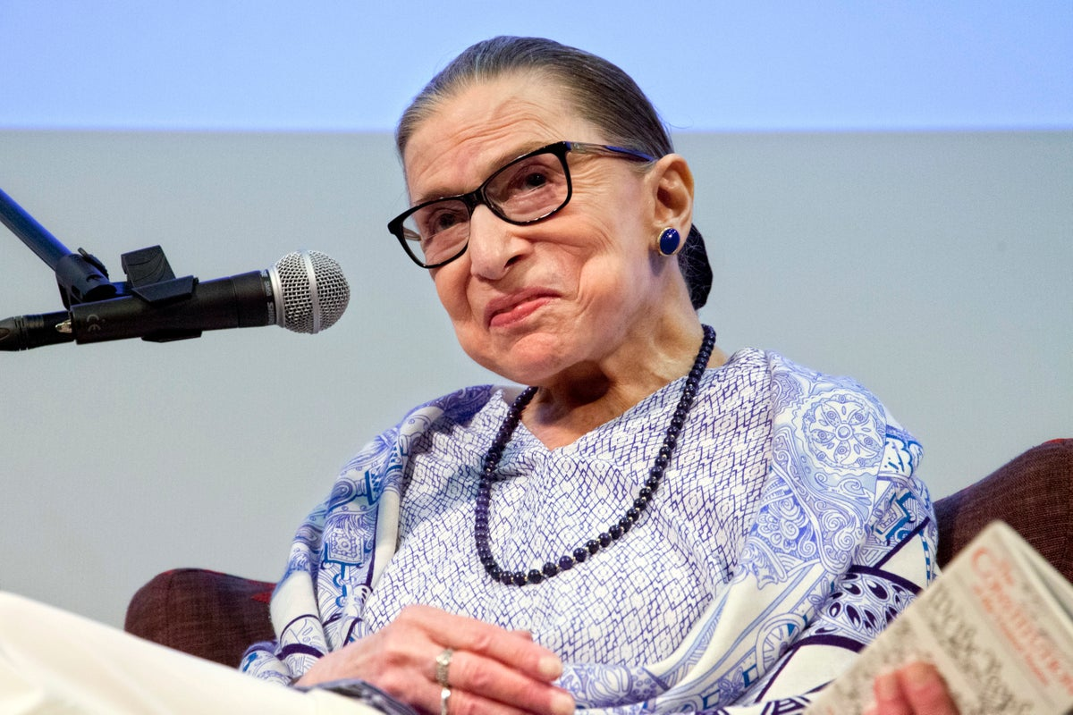 US Supreme Court Justice Ruth Bader Ginsburg speaks after the screening of