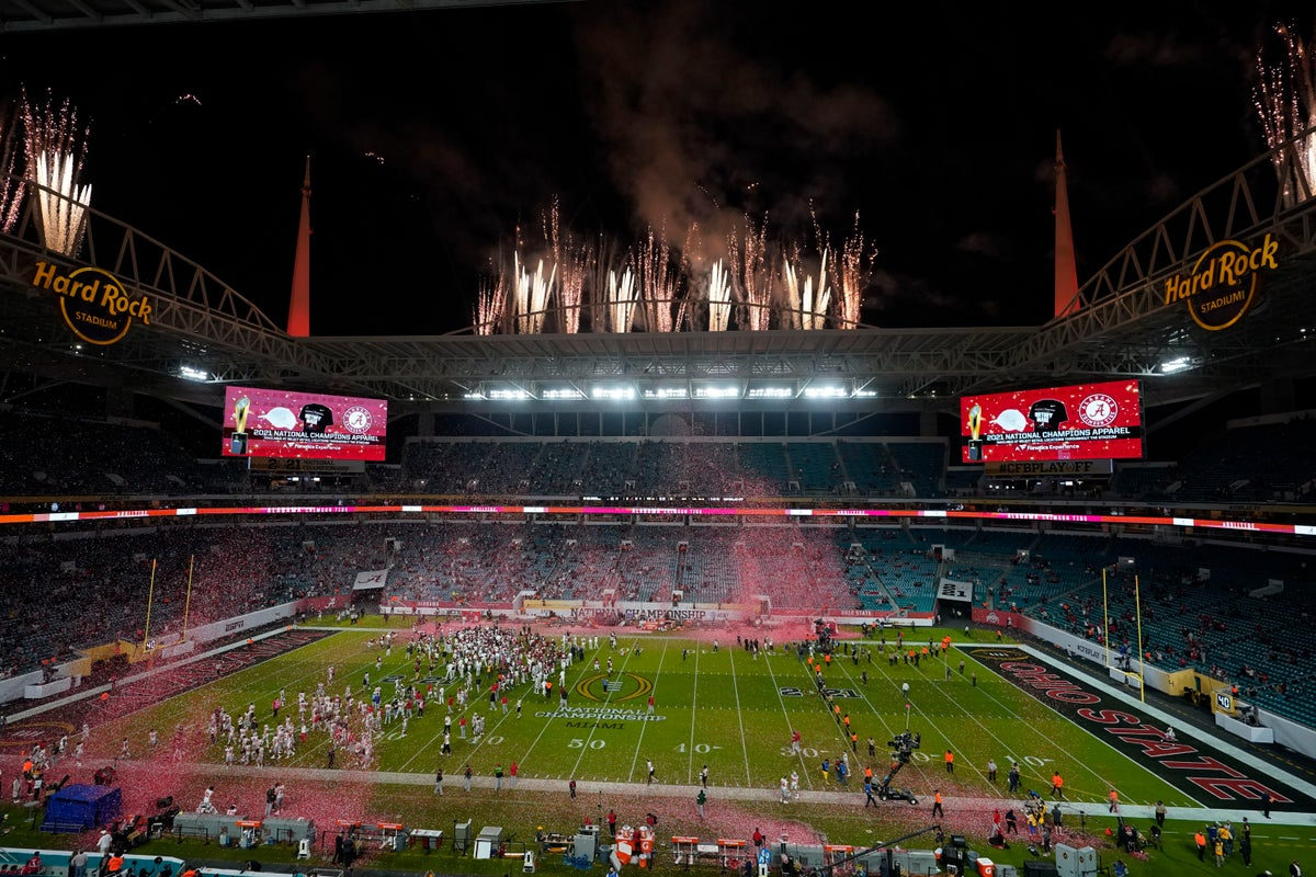 Just last night, the stadium was home to massive celebration for the University of Alabama. (Photo courtesy AP)