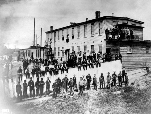 The first factory where electric bulbs were made commercially at the old buildings at Menlo Park in 1880. (AP Photo)