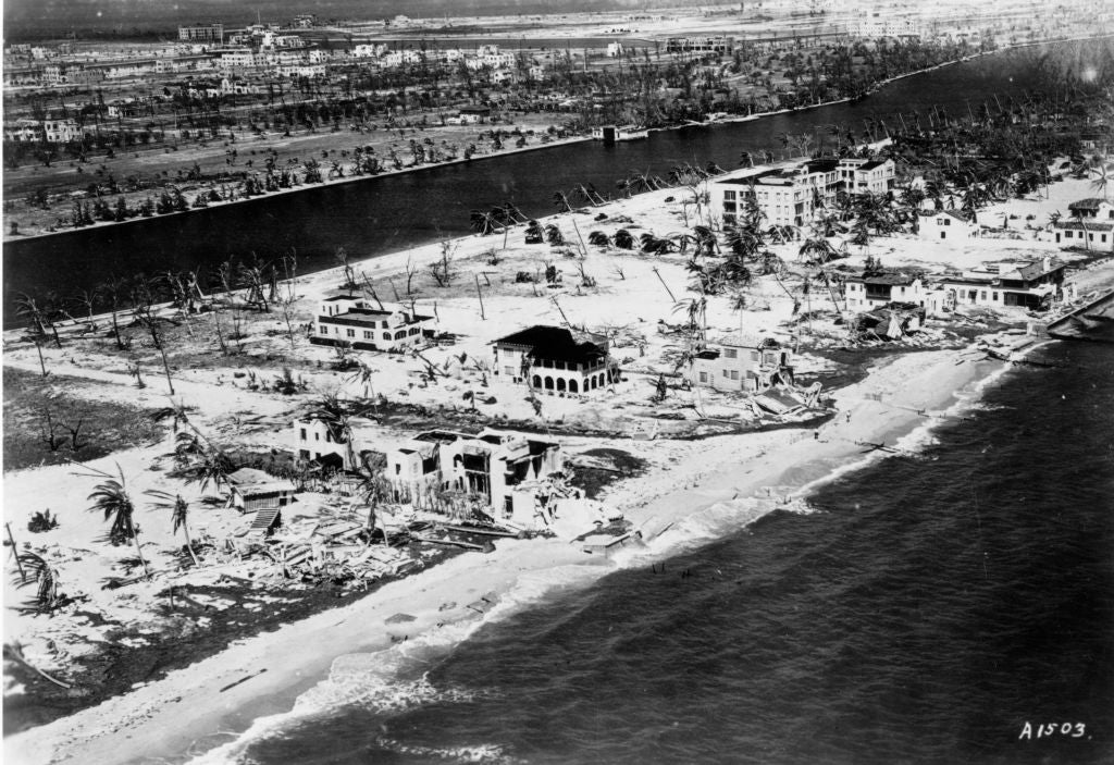 October 21, 1926: The coastline in Miami, Florida, following the great hurricane, which brought an end to the Florida land boom. (Photo by R. B. Holt/MPI/Getty Images)