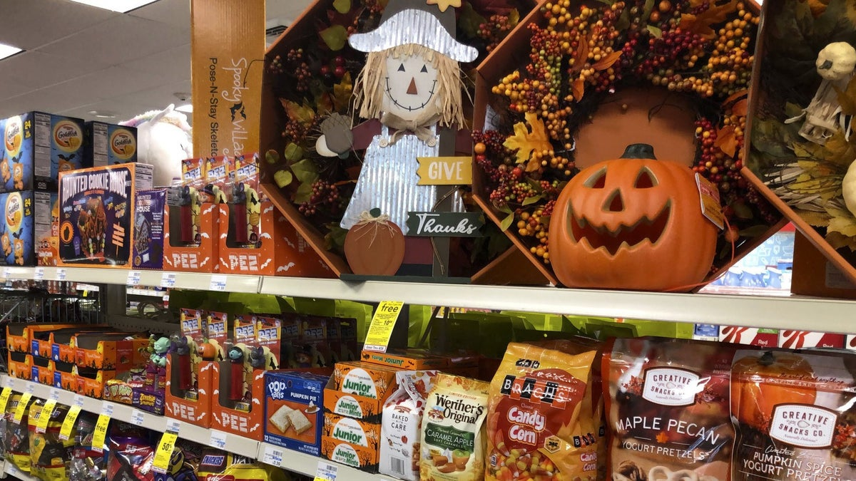 Halloween candy and decorations are displayed at a store, Wednesday, Sept. 23, 2020, in Freeport, Maine.(AP Photo/Robert F. Bukaty)