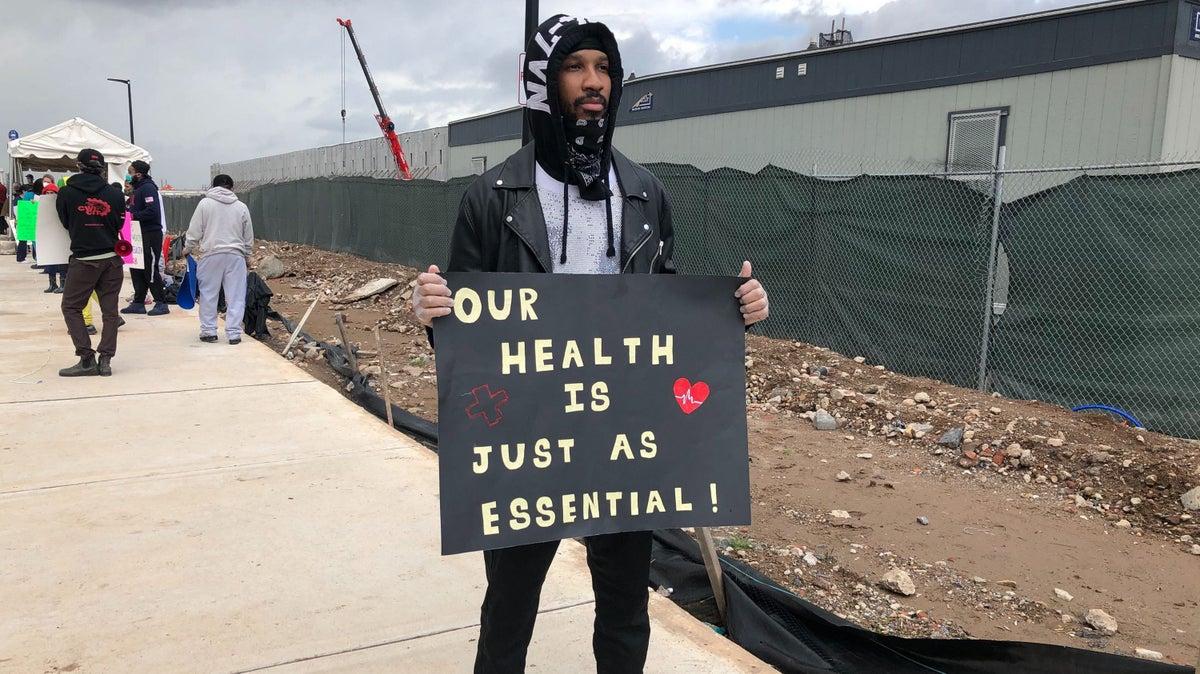 Former Amazon warehouse worker Christian Smalls at the Staten Island fulfillment center strike.