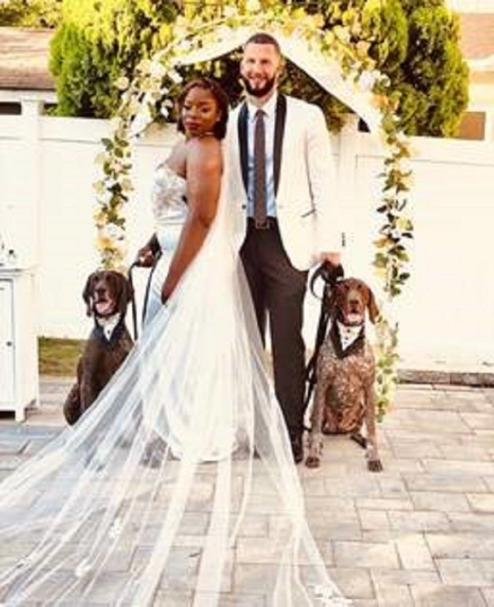 TSA canines Obelix and Proto participated in the June 2020 wedding of their TSA canine handlers. (TSA)
