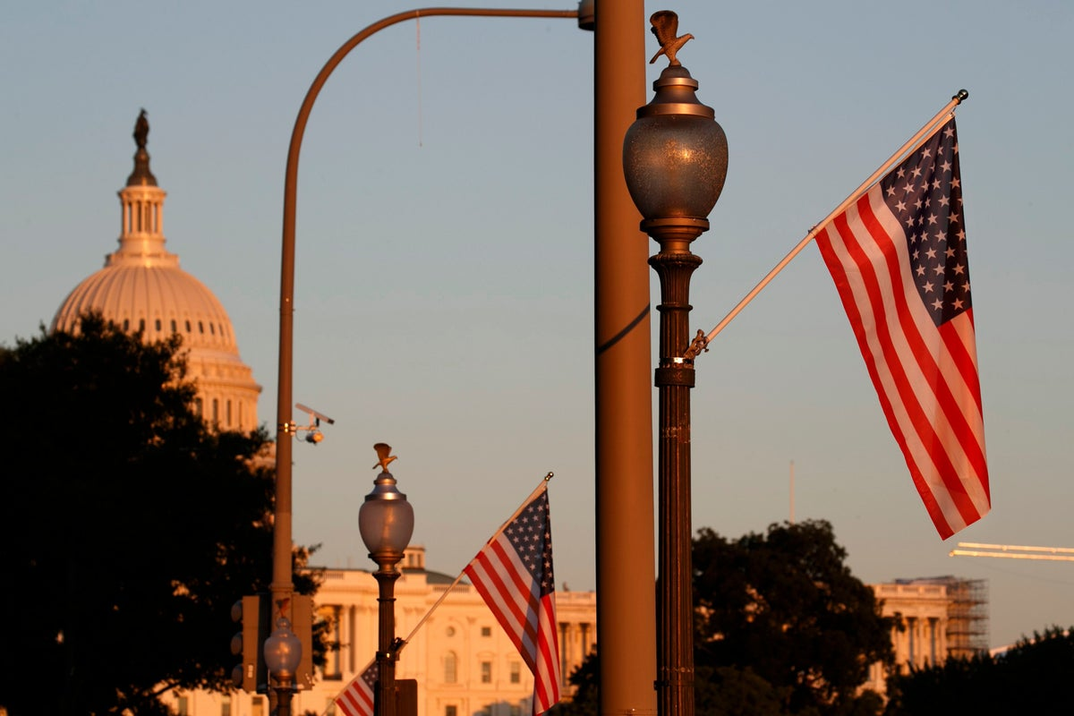 <i>U.S. flags fly with 51 stars along Pennsylvania Ave. as part of a display in support of statehood for Washington, D.C. Photo Credit: Jacquelyn Martin/AP/Shutterstock</i>