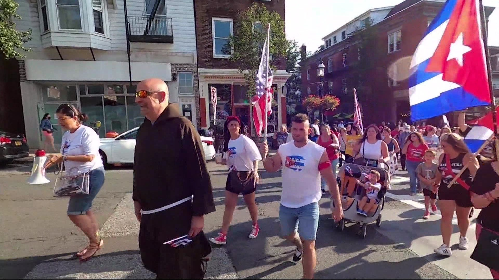 Cuban Americans march from Tarrytown to Sleepy Hollow in support of country's demonstrations