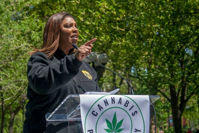 New York Attorney General Letitia James addresses a crowd at the NYC Cannabis Parade & Rally. (Chloe Aiello/Cheddar)