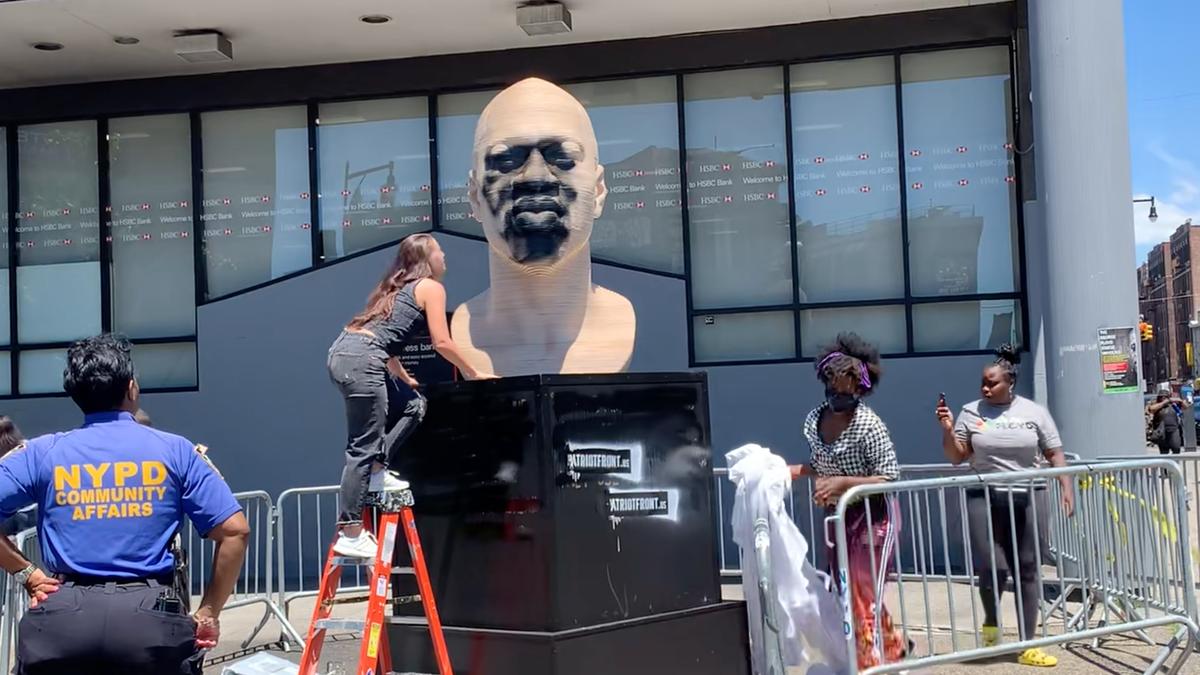 Graffiti found on new George Floyd statue