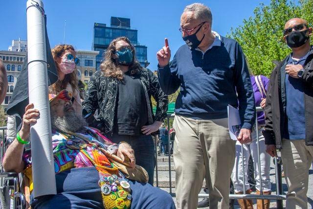 Senate Majority Leader Chuck Schumer addresses marchers at NYC Cannabis Parade & Rally. (Chloe Aiello/Cheddar)
