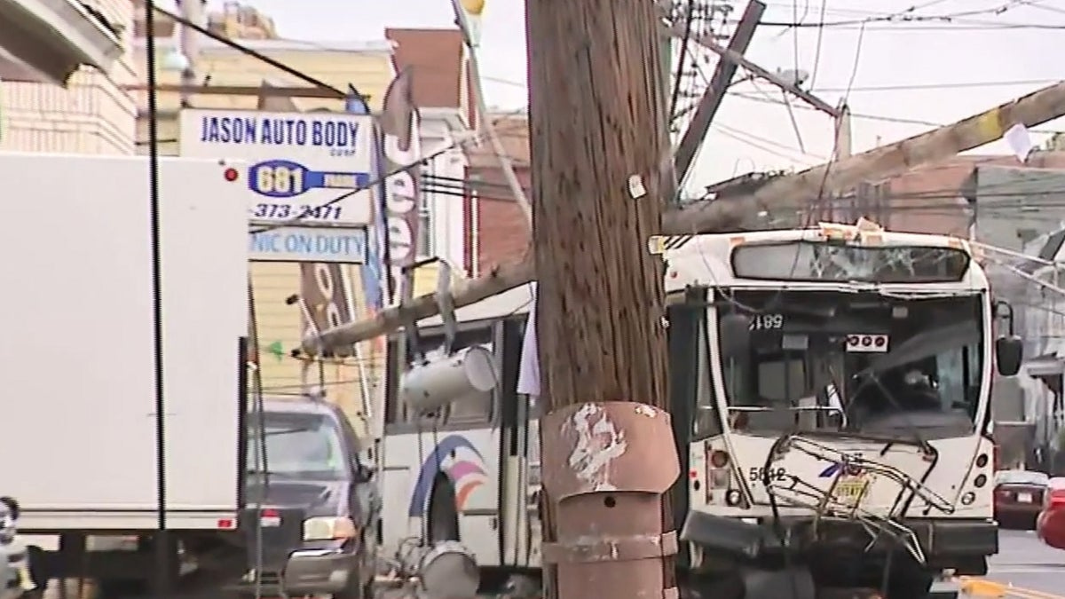 Officials: Vehicle slams into NJ Transit bus, causing several utility poles and wires to come down