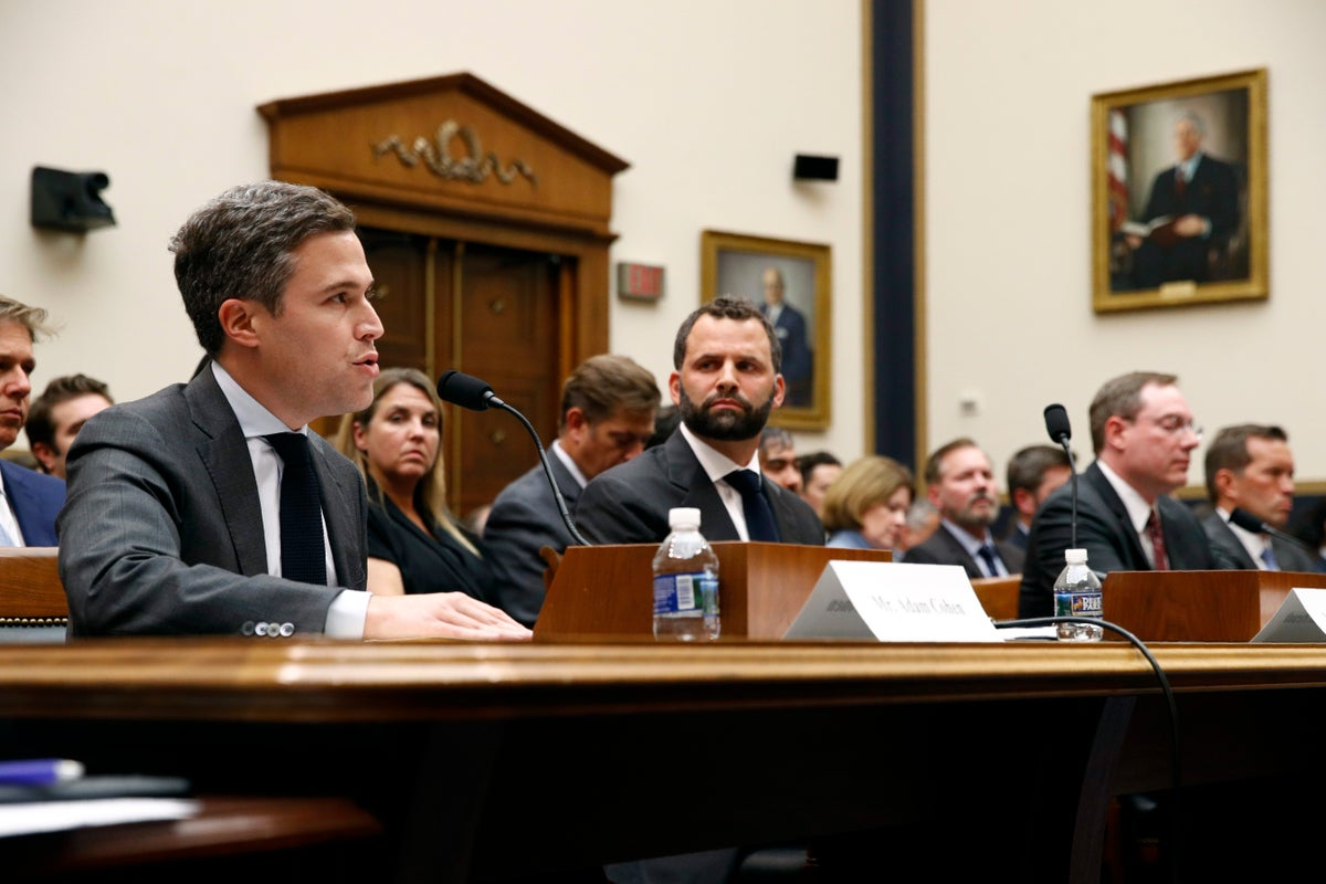 <i>Google Director of Economic Policy Adam Cohen, left, testifies alongside Facebook Head of Global Policy Development Matt Perault, second from left, during a House Judiciary subcommittee hearing on Capitol Hill in July. Photo Credit: Patrick Semansky/AP/Shutterstock</i>