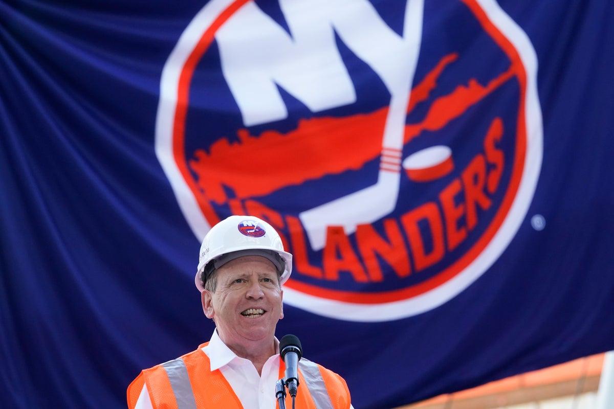 Islanders co-owner Jon Ledecky speaks during the