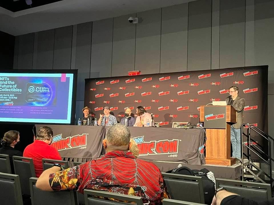 From the NFTs and the Future of Collectibles panel at New York Comic Con on October 9, 2021. From left on the stage: artist Gideon Kendall; writer, producer, animator Mike Federali; Curio co-founder and CRO, Ben Arnon; Heavy Metal CEO Matt Medney; and moderator Rob Salkowitz. Credit: Mike Nam