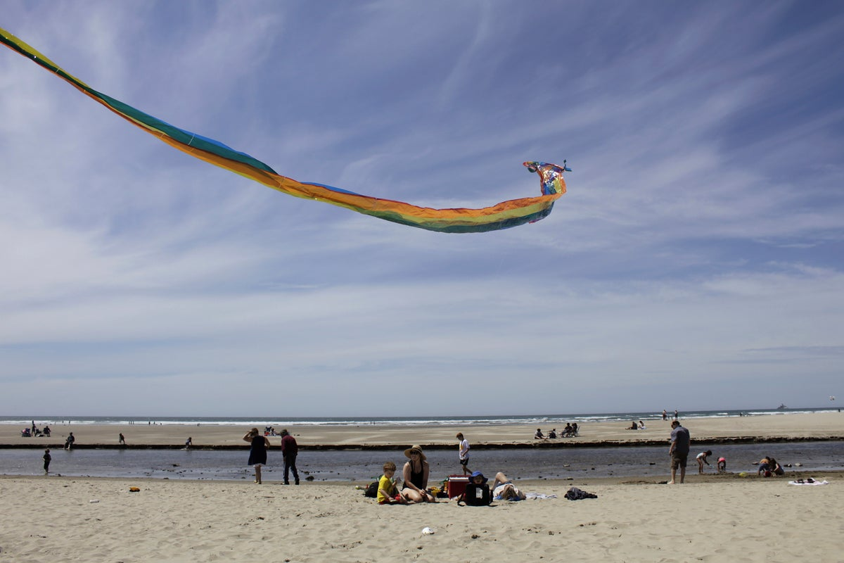 In this Thursday, May 28, 2020, photo Gwen Partlow and her sons, Cameron, 5, and Casey, 2, fly a kite on the beach during the coronavirus outbreak in Cannon Beach, Ore. (AP Photo/Gillian Flaccus)