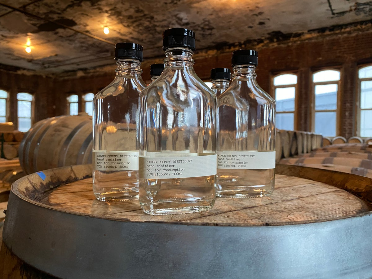 Empty hand sanitizer bottles at Kings County Distillery. (Photo courtesy: Kings County Distillery)