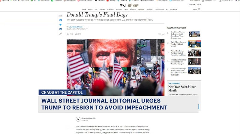 Wall Street Journal calls for President Trump to resign