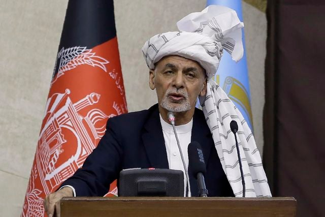 In this March 6, 2021, file photo, President Ashraf Ghani speaks during the opening ceremony of the new legislative session of the Parliament in Kabul, Afghanistan. In March 2021, U.S. Secretary of State Antony Blinken gave both the Taliban and the Afghan government an eight-page proposed peace plan, which they were to discuss, revise and review and come to Turkey ready to cobble together an agreement. But on Monday, April 12, 2021, Taliban spokesman Mohammad Naeem said the religious militia won't attend a peace conference tentatively planned for later in the week in Turkey, putting U.S. efforts to get a peace plan anytime soon in jeopardy. (AP Photo/Mariam Zuhaib, File)