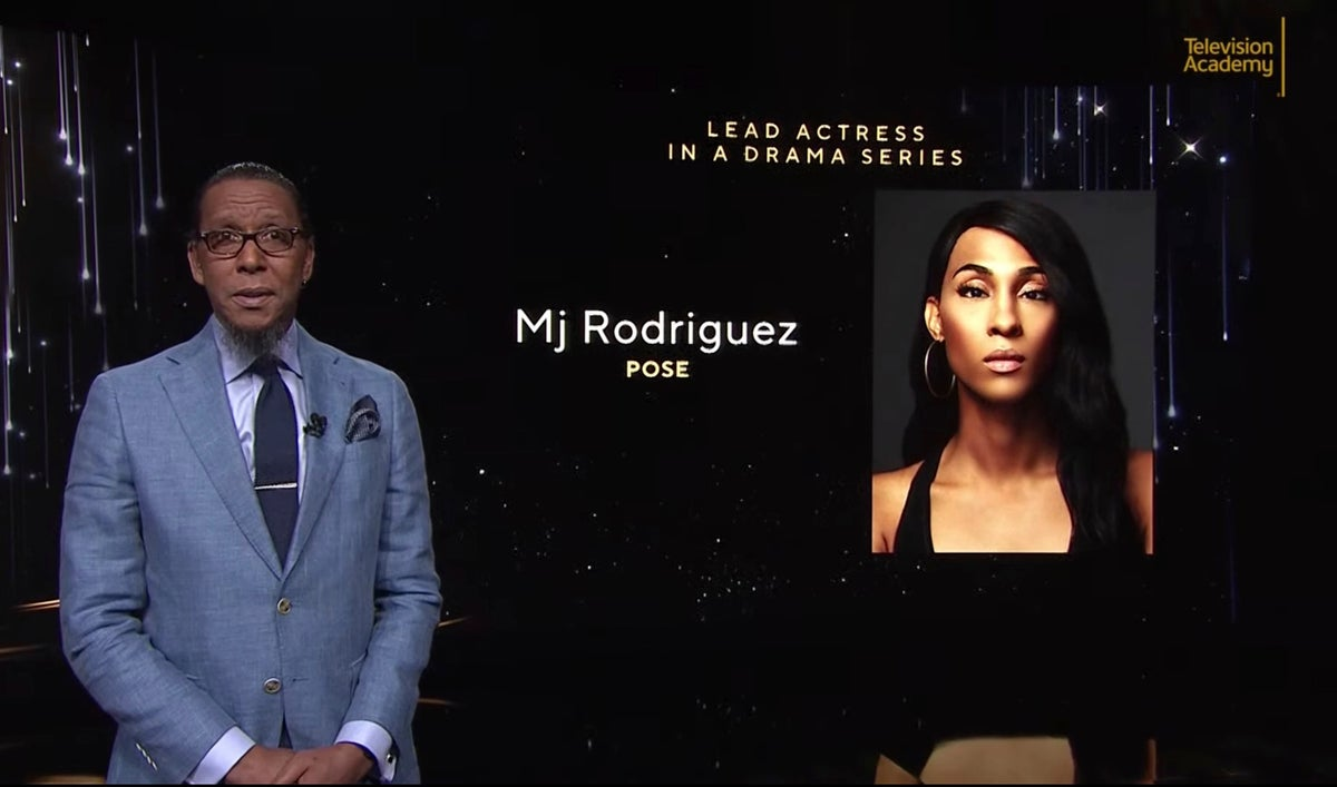 This video grab provided by the Academy of Television Arts & Sciences shows Ron Cephas Jones as he announces Mj Rodriguez as a nominee for lead actress in a drama series for
