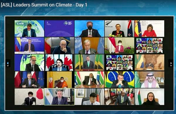 In this image from video world leaders participate in the White House Climate Leaders Summit via Zoom Thursday, April 22, 2021. The U.S. opened Thursday's summit, which is being held virtually by livestream because of the pandemic, with an ambitious pledge to cut by at least one-half the climate-wrecking coal and petroleum fumes that America is pumping out. (AP Photo)