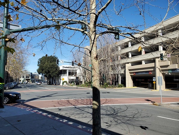 Wide-shot of South Main Street during a low traffic period, with a parking garage and a Crate and Barrel store in the background and a leafless tree in the foreground, in Walnut Creek, California, February 4, 2021. (Photo by Smith Collection/Gado/Getty Images)