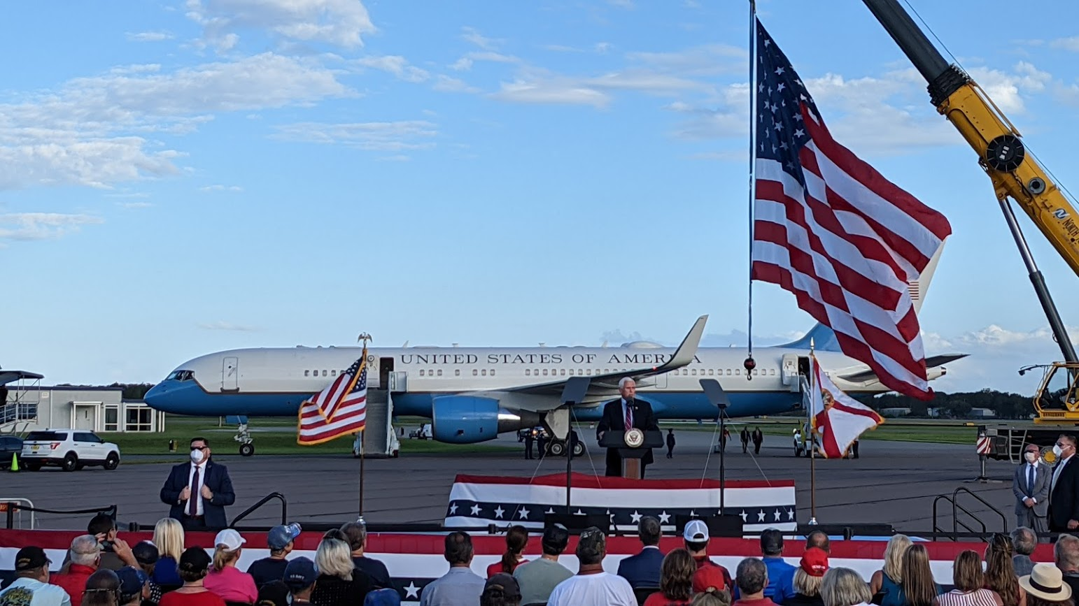 Vice President Mike Pence in front of Air Force 2. Credit: Megan Pratz
