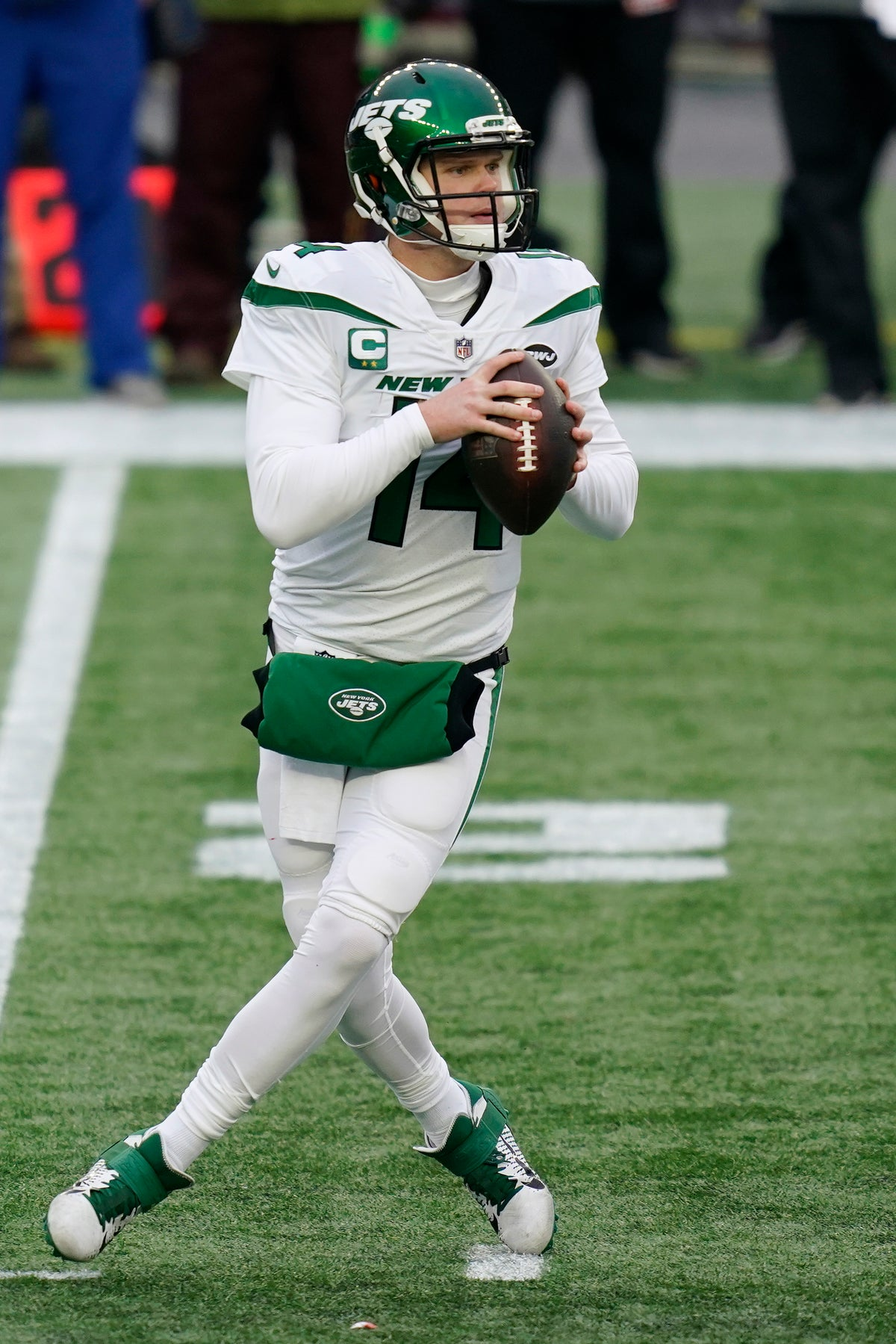 New York Jets quarterback Sam Darnold drops back to pass against the New England Patriots in the first half of an NFL football game, Sunday, Jan. 3, 2021, in Foxborough, Mass. (AP Photo/Elise Amendola)