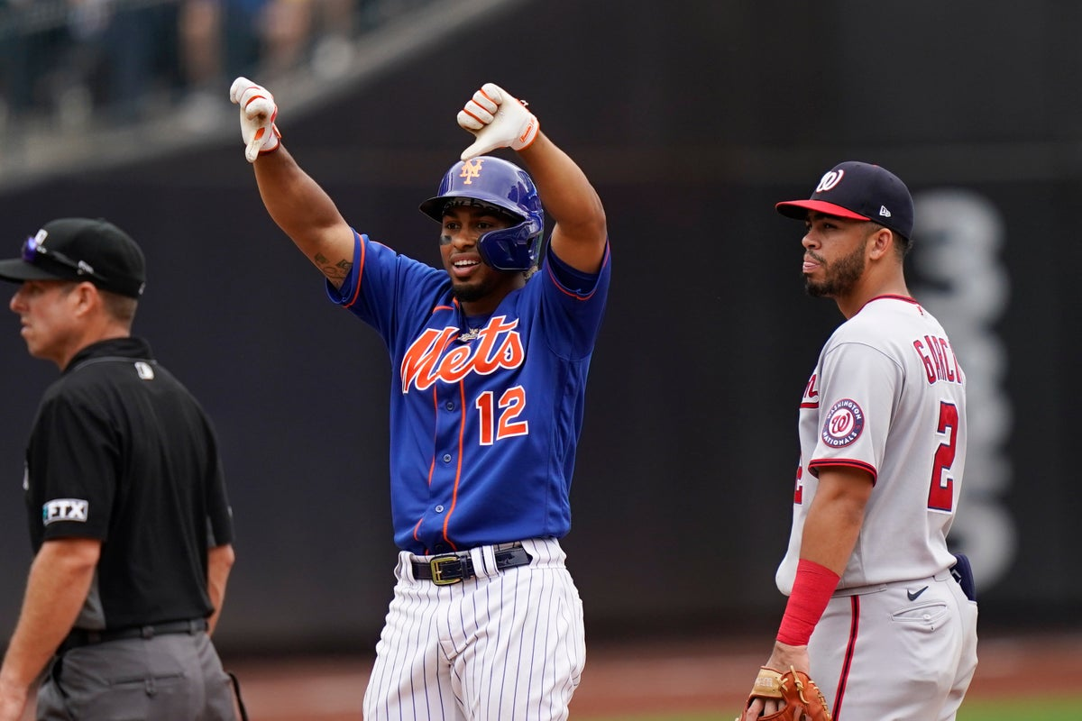 Francisco Lindor gives the thumbs down gesture after his double scored Patrick Mazeika and Jonathan Villa Sunday, Aug. 29. (AP Photo/Corey Sipkin)
