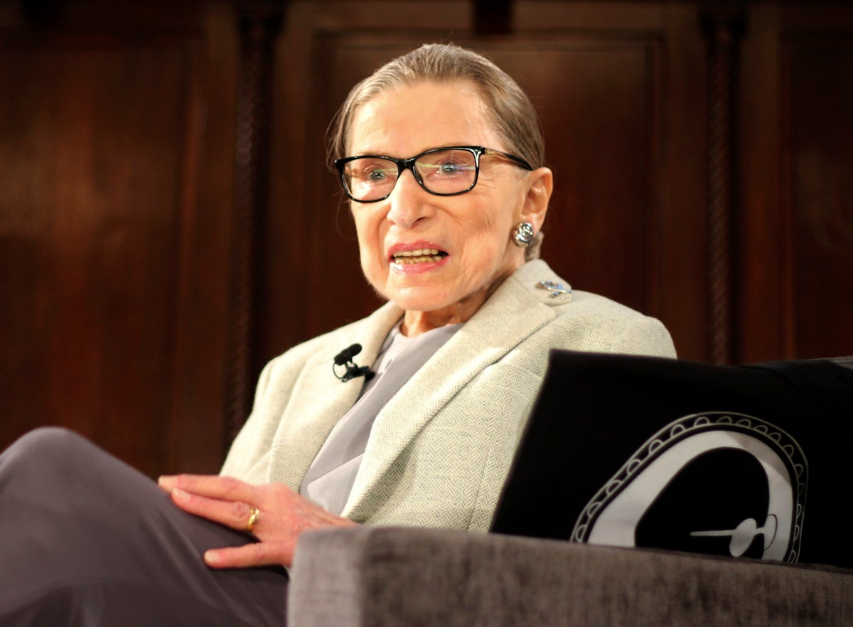 In this Saturday, Dec. 15, 2018 file photo, Supreme Court Justice Ruth Bader Ginsburg sits onstage as a speaker during an event organized by the Museum of the City of New York with WNET-TV held at the New York Academy of Medicine in New York.(AP Photo/Rebecca Gibian)